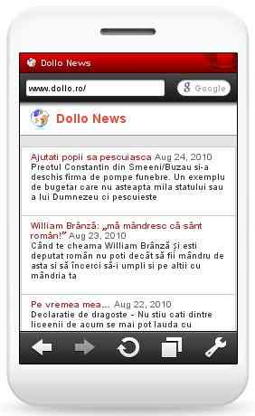 Dollo News pe mobil cu Opera Mini5