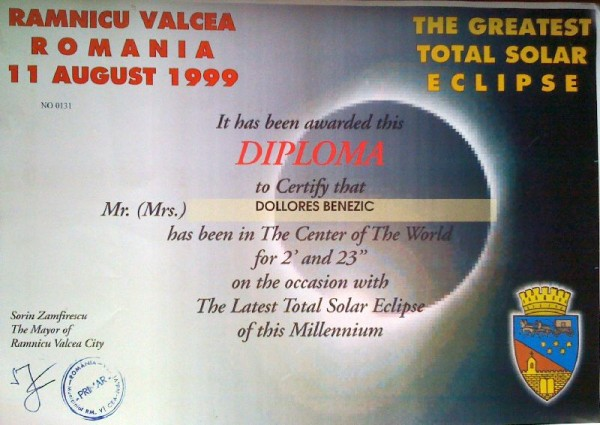 Diploma de eclipsistă primită de la primăria Vâlcea